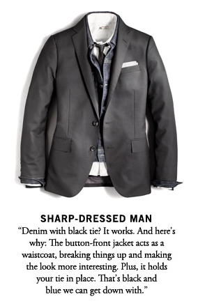 No, J. Crew, I will not wear a denim jacket under a suit.