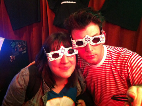 Friend of the blog and Moshe Kasher wearing Jew-goggles as Punch Line ATM waits in the background (P.S. The glasses turn every light source into a star of David)