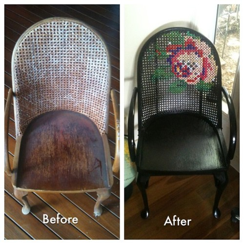 fiberistanora:  anadiosdado:  mad-inked-gypsy:  #thrifting #chair #embroidery #recycled #black #rose  ideaaas  Woah. YES.  Reblogging, because the idea of large-scale embroidery on a wicker chair is too good to pass up!