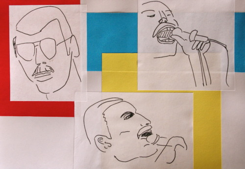 SpainSkecthBook Page 13- practice drawings of Freddie Mercury for my brothers birthday card. marker pen and construction paper ©ChristinaTinTinMuller  PS: Happy Easter