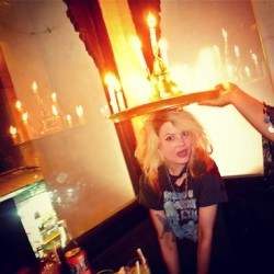 derekblasberg Candelabra headwear? Alison Mosshart learns some traditional Moroccan restaurant fashions in Marrakech