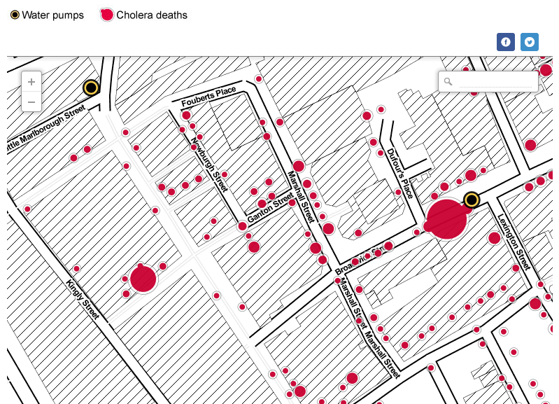 John Snow's cholera map of London recreated  What would John Snow's famous cholera map look like on a modern map of London, using modern mapping tools? The map changed what we know about germs and disease - and created a new way of looking at the world. With the help of mapping tool CartoDB and using the Stamen style maps, this is how it looks with larger circles representing more deaths.