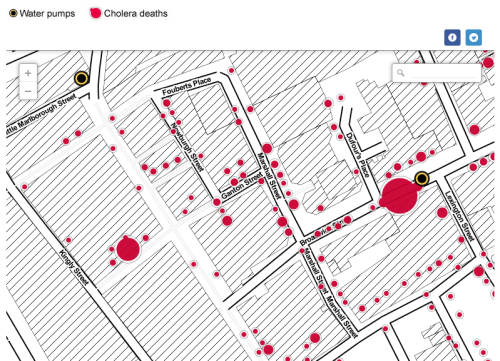 sunfoundation:  John Snow's cholera map of London recreated  What would John Snow's famous cholera map look like on a modern map of London, using modern mapping tools? The map changed what we know about germs and disease - and created a new way of looking at the world. With the help of mapping tool CartoDB and using the Stamen style maps, this is how it looks with larger circles representing more deaths.