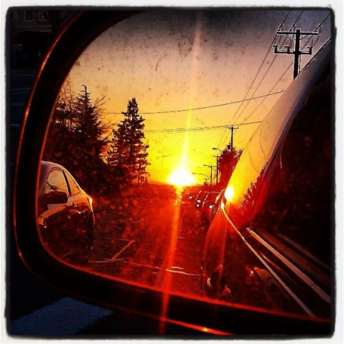 #today's #gorgeous #sunset #orange #sunshine #driving #lookingback #sidemirror