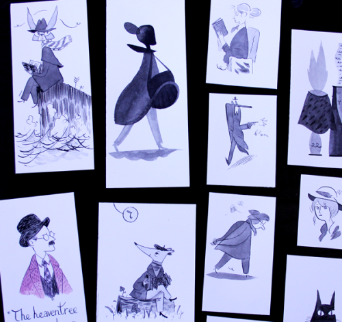 Some of the hand-drawn bookmarks I'll be sending with Kickstarter orders of YZthree. 47 hours left! (I'll post proper scans later)