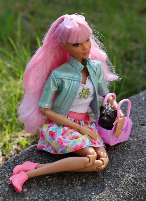 Barbie Doll fashionista made to move outdoors photography pink daisy garden Annette29aag