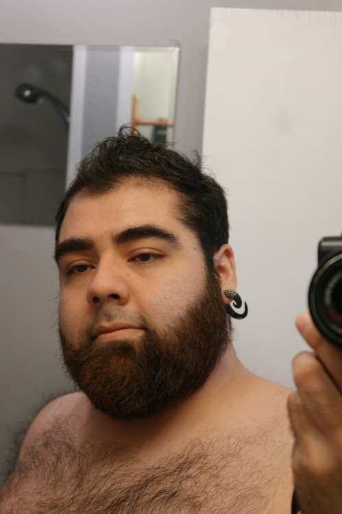 chubsrule:  benjaminblue:  Contemplating buzzing down my hair and beard trimming.  I'm torn as to whether or not I want a buzzed head again..  Either is totally hot on you stud