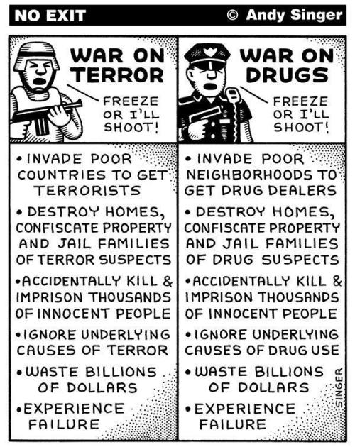 "I hate having to describe to people why I get so incensed about the drug war. Yes, it can be as disheartening and tragic as a ""real"" war  No, it's not because I'm obsessed with ""freeing da leaf"", it affects millions of people, is de facto slavery in their unbalanced approach to targeting and jailing minorites…. I could go on and on….give me the alphabet and I'll start listing reasons what's wrong with the drug war"