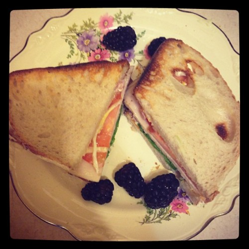 This is just a turkey sandwich, but look at that lovely china my roommate picked up! #thriftstorefind