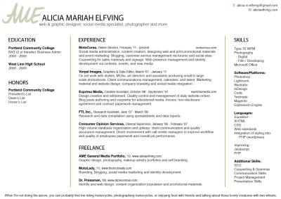Here's my resume.  Pass it around and find me contract/part time/full time work. :) Danke!