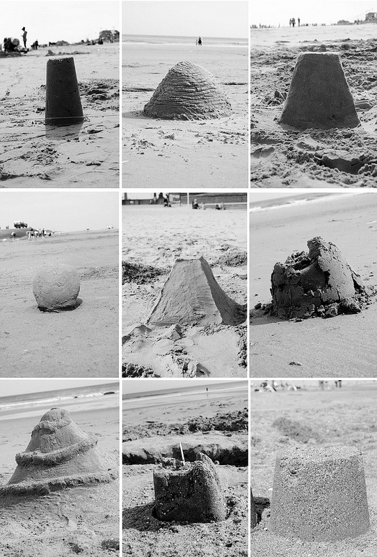 Typology of sand castles. Photography by Jemima Preedy.