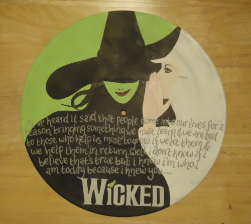 Custom ordered Wicked inspired painted vinyl record, with lyrics. More on Etsy
