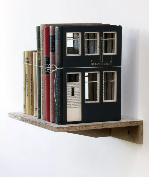 Charming: houses built of books by Dutch artist Frank Halmans, a fine addition to other outstanding book sculpture concepts.