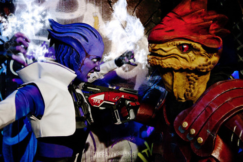 "Why yes, this is the story of ""Mass Effect's"" Aria and Wrex told through cosplay."