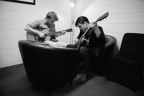 Ted Dwane and Marcus Mumford of Mumford & Sons jam in Hobart, Tasmania on October 23, 2012. Photo © James Marcus Haney.