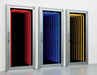 Ivan Navarro, Shortcut, 2005. triptych: aluminum doors, mirrors, neon variable, each 86 x 39 1/2 x 7 in. (218.4 x 100.3 x 17.8 cm.) overall 86 x 130 x 7 in. (218.4 x 330.2 x 17.8 cm.) This work is number 2 from an edition of 3 plus 1 artist's proof.