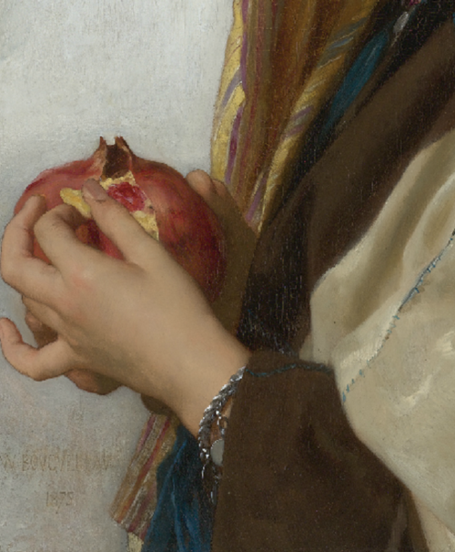 promethean-eyes:  William-Adolphe Bourguereau - Girl With a Pomegranite (Detail). French, 1875.