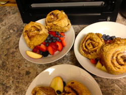 Breakfast for Dinner: HH's Cinnamon Rolls What I did differently:  I didn't have apple sauce for the batter, but I had a ton of butternut puree- so I used that.   It turned out well.   Yum yum nom!