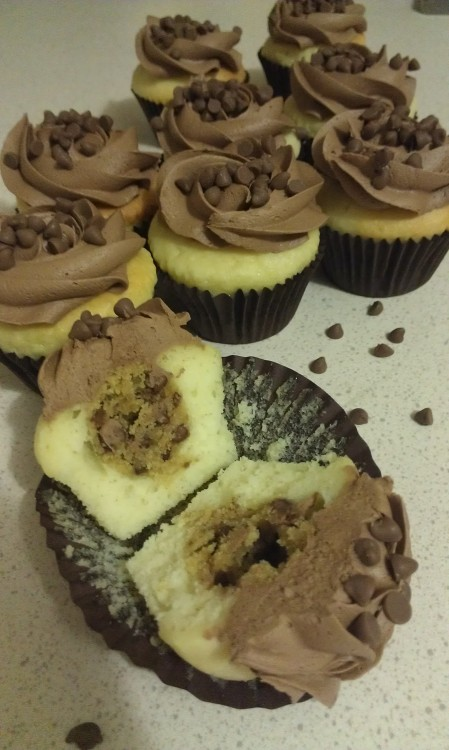 Choc Chip Cookie Dough Cupcakes with Whipped Chocolate Ganache Frosting