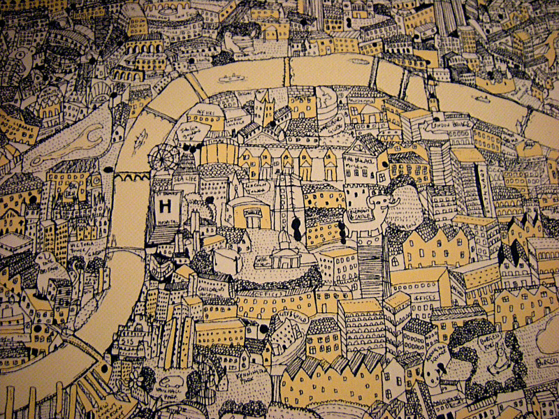 "David Ryan Robinson's Fantasy Map of London David Ryan Robinson doesn't want to be known just as the map guy. Which is kind of difficult when you spend six months of your life drawing a huge A2 (that's 23-and-a-half by 16-and-a-half inches) map of London. It was fall 2011, and Robinson had just arrived in London. Like many young professionals, Robinson realised that the UK capital was the place to establish a firm career path. Robinson had always been into drawing, and he never got out of it. He graduated from university in June, taking a degree in art, and he knew that to advance in the creative industries he ought to move to London. ""I'd only been a couple of times before,"" he points out, on day trips and vacations.  He travelled down from the northwest city of Manchester (where he lived after moving from his birthplace of Rhyl, North Wales) with two months' rent in his bank account and set up home in the capital. One of his first phone calls was to the creative manager of Cartoon Network in London. ""I knew him through my tutor at university,"" explains Robinson. ""I just phoned and said I'd work there for free; I'll do anything to work at Cartoon Network."" The manager said he had a job — but it would be sitting in the office, renaming files on the computer system. ""At the time, I didn't care. I thought I'd do anything."" Originally the job was three weeks of casual labor. By the end of a month, the manager came in and asked if Robinson could stay another month to help out. Another month passed, and the same question was asked. When Robinson walked into the Cartoon Network offices off London's busy Oxford Street in December, he noticed a free seat in front of a Mac in the creative department. ""I sat down there and started doing some design work. And then they gave me more and more things to do, and around December they said 'Do you want a contract?'"" Robinson did. He had been coupling his work at Cartoon Network with shifts bagging groceries at Waitrose, a supermarket. ""I hated it,"" Robinson says of his time helping famously stony-faced Londoners choose their lettuces. When he told them he'd be leaving, his manager said he would have to work out two weeks' notice. ""I just said I'm not going to be here tomorrow, and gave them all my uniform there and then."" It was liberating for Robinson, and working just the one job instead of two (plus freelance illustration work for magazines and newspapers such as The Guardian, the Times Higher Education Supplement, and Risk Magazine) gave him more time to devote to a project he had begun a month or so previously. ""I started doing the map around November last year,"" Robinson explains, but before that he had started a project on a smaller scale. When he first moved to London, he drew a fantasy zoo, populated with animals, and decided to take on a bigger task when the 20 zoo prints he ordered sold out.  ""I did the zoo, and thought 'What else can I do that matches that scale?'"", he says. The idea of drawing a scale map of London came to him. ""I just thought, why not?"" The initial enthusiasm carried him through the first sketches, drawn on paper on top of a lightbox and taped together on mountboard to form a bigger section of the map. There were times Robinson questioned the scale of the project he'd elected to undertake.  ""It was massive,"" he says, eyes widening.  ""But once I started and began seeing pieces coming together, it was exciting. It was a massive project, so at first I was reluctant, but once I started seeing it coming together I knew it was a right decision. I thought it should look quite cool.""  It did. It took six months in all (after a two month burst of working fairly constantly on it, Robinson took a month's holiday from the map -– ""spending nine hours solidly drawing buildings is hard … drawing buildings can be a bit boring""), but when it was complete it was a luscious, quirky representation of the British capital that managed to encapsulate the offbeat British spirit. Some of the map was drawn from personal experience as Robinson came across interesting new areas of the huge city, which spreads across 1,500 square kilometers of the southeast of England. Most of it was drawn using a tool that famous cartographers like Gerardus Mercator didn't have back in the 16th century: Google Maps. ""It's a lot of Google Maps,"" Robinson admits, ""and Street View too. If there's a nice building I'll Google it, but I'm lucky. I live centrally and work just off Oxford Street, so it's quite easy to get around and look at things in person."" Though he likes to imagine a Japanese tourist unfurling his map in the middle of Oxford Street — London's main shopping area — on a busy Saturday afternoon, he doesn't think many people use it as an accurate cartographical representation of the city. Though it could be, as long as you don't take the decoration literally. ""Shepherd's Bush has a big shepherd looking after it,"" he points out. ""And there are more weird monsters than people on the map. If I saw an area that looked sparse and boring, I'd just draw a monster thing there."" Japanese tourists did buy the map, though. ""I sent a couple to Japan and quite a few to Hong Kong,"" says Robinson. ""It's quite surprising how many people bought the map who aren't from London."" The Daily Mail came calling and told his story. The map sold out within four hours. ""It got to the point where as soon as I was putting them online they were gone,"" he explains, ""and I'd be on the phone to the screen printers to order more."" But Robinson isn't just the map guy. He designs for Cartoon Network as a full-time job, and works on illustrations for magazines in his spare time. The work on his Tumblr takes next to no time -– an average illustration takes 10 minutes, plus another 20 or so to scan it in and computer color it. Editorial work takes longer: a couple of hours in rough, then another three hours to do a final version for print. All have the same zany style and bright coloring to them. Oh, and did we mention he's doing another map? ""I approached the Zoological Society of London at London Zoo and showed them the map and the zoo I did originally,"" Robinson begins. ""And I asked them if they'd be interested in me doing something similar for London Zoo. ""And yeah, they were happy to go along with that. Twenty-five percent of all the sales will go to them to help support the zoo how they see fit."" The map of London Zoo is ""taking forever. At the moment it's nearly A0, a quarter done, so it's pretty huge."" Robinson can't fathom the size of the work when it's finished: ""I don't even know what they call the paper size it'll be when it's done,"" he admits. ""B something?"" Though it's another map, Robinson is glad for the change. ""There's something about creating a zoo with animals and creating people that's a lot more interesting than buildings,"" he says. ""It was nice to do the map, but I dunno …""  Once he's finished this map, you get the impression Robinson might choose simpler, smaller, non-geographical projects. Illustrations tumble out of Robinson freely; bright, bouncing things that pop off a computer monitor. For now, he's getting a move to a new home across the city out of the way, but after that, and after completing the map for London Zoo, Robinson isn't sure what the next big project to monopolise his time will be. He shrugs and says: ""I guess I'll see what happens next."" — Chris Stokel-Walker"
