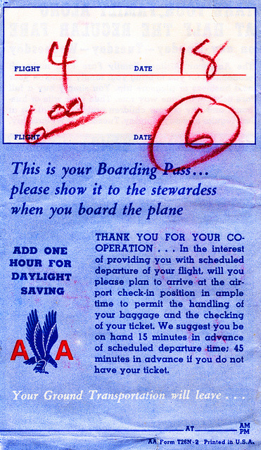 american airlines boarding pass 1952 on Flickr.