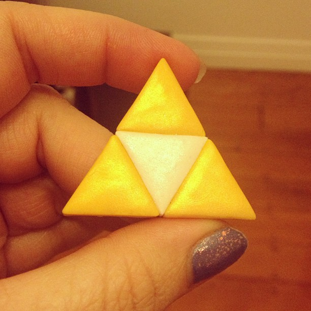 Couldn't resist the temptation and made a triforce brooch. Any Zelda fans out there?