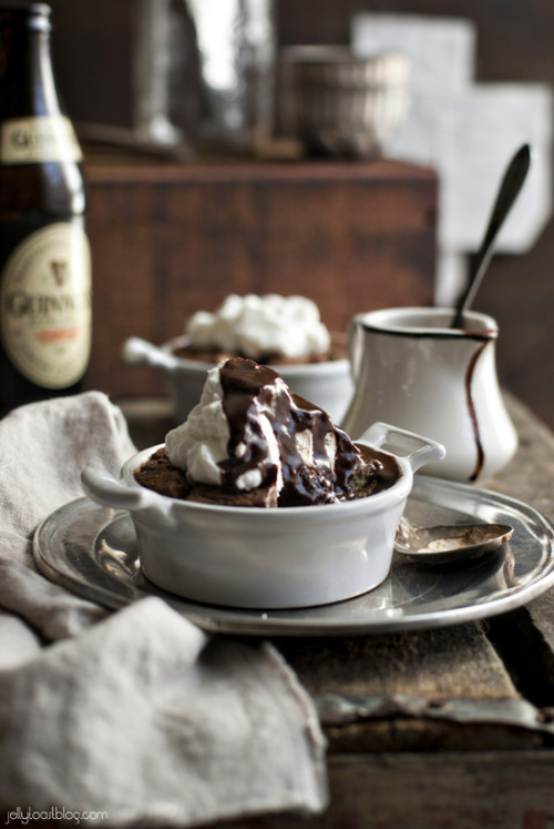 chocolate balsamic bread pudding with guinness chocolate sauce and whiskey whipped cream click here for recipe