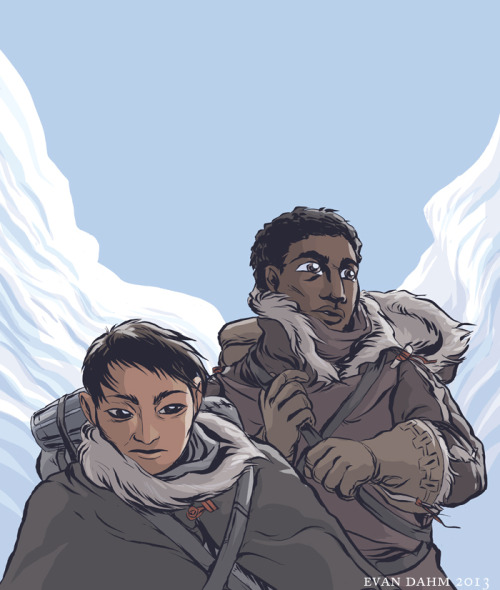evandahm:  Estraven and Genly from The Left Hand of Darkness by Ursula K Le Guin. I have started a project to read through all of Le Guin's books recently because I forgot how really beautiful and fascinating they are. Left Hand is probably her most famous sf book; it reminded me a lot of Dune on some aesthetic points. Was reminded that I started working on this a while ago on seeing Magnolia's fanart yesterday. Now there are like 4 or 5 drawings from this book on the internet. Anyway read this book.