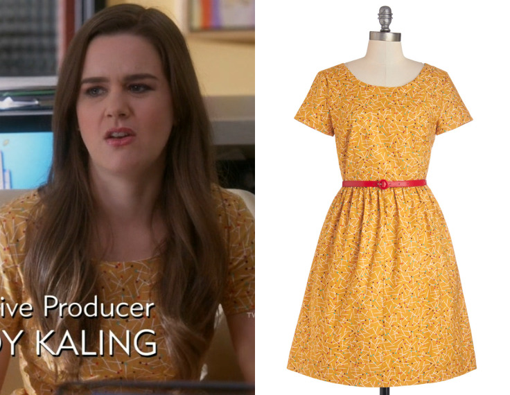 "Betsy's dress from ""The Girl Next Door"" has a quietly dangerous edge to it - being that it's covered in push pins. Modcloth See the Delight Dress - $69.99 (was $99.99)"