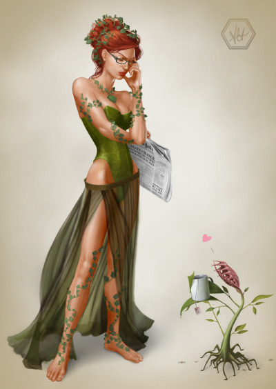 youngjusticer:  Dr. Pamela Lillian Isley, a botanist from Seattle, was once an intelligent college student who knew just about everything about plants until her professor conducted experiments upon her, which made her touch deadly and allowed her to produce pheromones that drove men wild. Enraged at the betrayal, Isley suffered violent mood swings and eventually set roots down in Gotham, where she'd been committed to Arkham on a regular basis as Poison Ivy, who talks to plants, became more plant-like every year, and sought to destroy the entire human race. To this day, she remained a thorn in Batman's side. Bad News, by Alanna Howe.