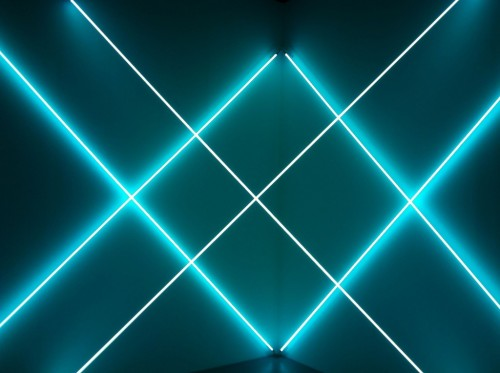 "Art from Dynamo, a math and science-influenced exhibition at Paris' Grand Palais. Above: Light sculpture by Francois Morellet, and ""Concave and Convex: Three Unit Dimensional"" by Richard Anuszkiewicz. (via PhD Epsilon)"