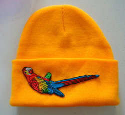 PARROT Yellow Hipster Hand Patched Beanie by MoonShineApparel on We Heart It - http://weheartit.com/entry/47601366/via/MoonShineApparel