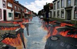 "amazingartphotography:  Check out this extraordinary 3D street art by British artist Julian Beever who some have dubbed ""Pavement Picasso""."