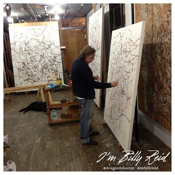 """My neighbor Jan Frank, doin his thing!  Smells good when he's painting…"" -BR #designertakeover #mrbillyreid #nyfw #attheshows"