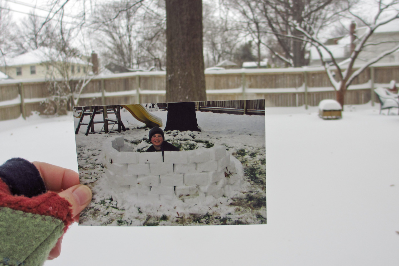 Dear Photograph, Every time the snow falls, I can still see my nine year old son, Joshua, spending the whole day building the perfect snow fort. Now he's a freshman in college and I'm trying to perfect the art of adjusting to the empty nest. Amy