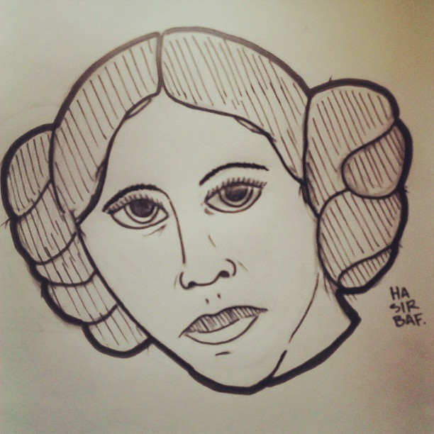I made a pass at Princess Leia today… she said no. #starwars #dailysketch #needswork
