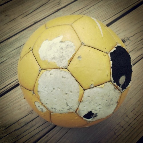 Well, this has seen better days…  #soccer #ball #dog #chewed #old #nasty #cold #spring #morning (at home away from home…)