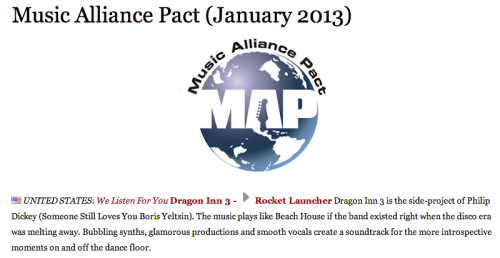 "The Guardian's Music Pact Alliance chose our song ""Rocket Launcher"" as the U.S. representative for January 2013."