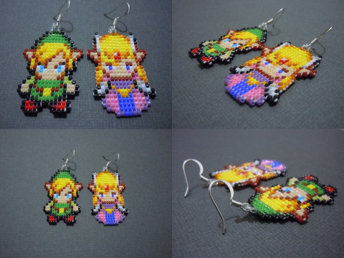 it8bit:  Handmade Link and Zelda Earrings Available for $25(USD) @Etsy Created by Sarah Haghayegh  I don't wear earrings, but these are awfully cute.