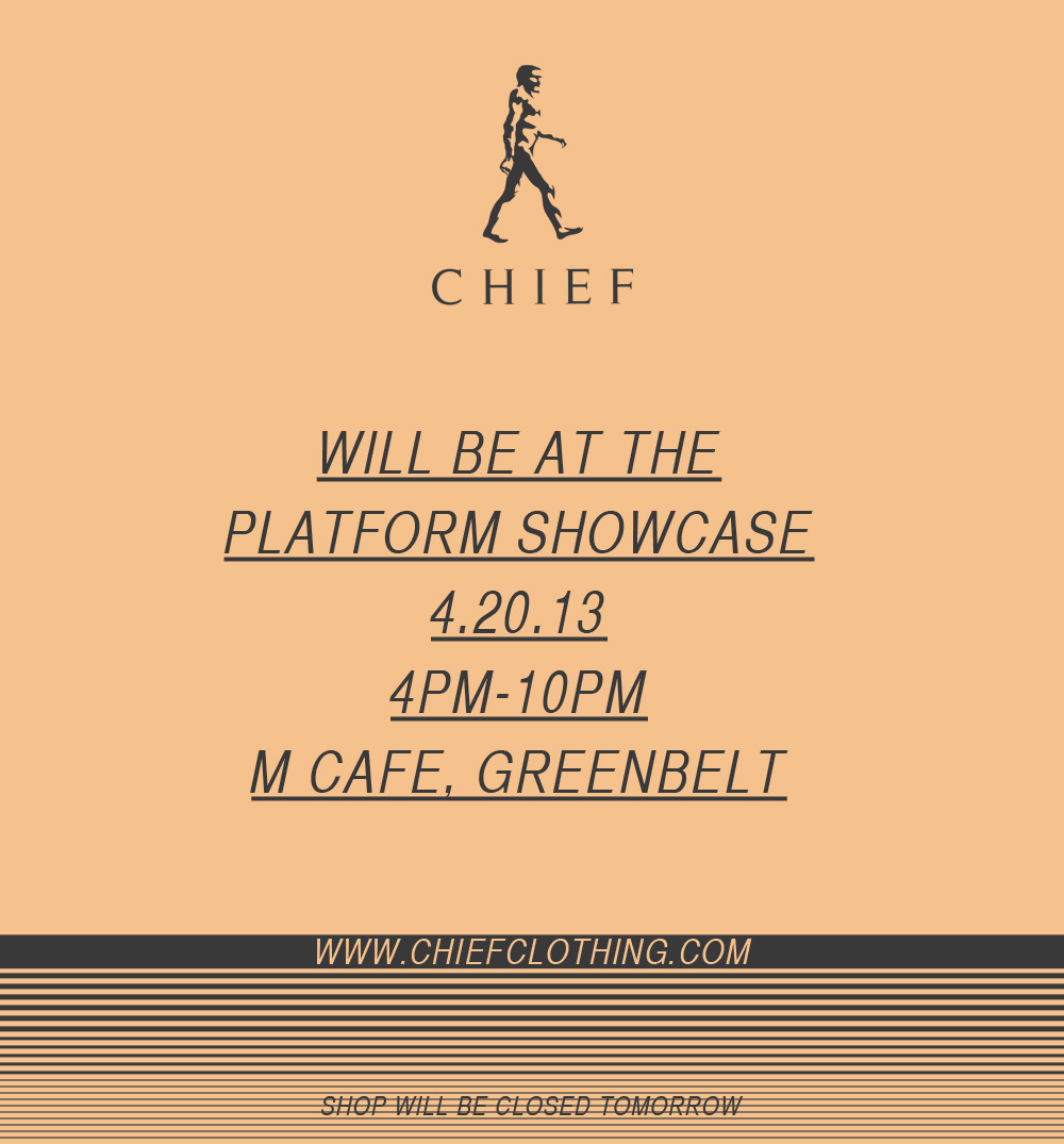 The shop will be closed tomorrow due to this event called Platform Showcase, a pop-up event that brings together the community that are passionate for urban fashion, art, music and culture. Catch our booth at M Cafe, Greenbelt from 4pm-10pm with other independent local brands.