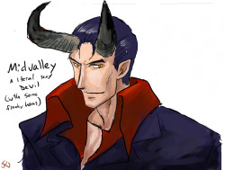 jeredu:  Midvalley the Horned Freak.  Part of the Angel Vash AU Karaii spawned. xD Drawn in paintchat last night!  YES YES YES MIDVALLEY THE HORNED FREAK OMFG FUCK THIS IS PERFECT Jer, I love this so so so SO much. I love Midvalley like crazy and you worked out the best pun for his name and he's a sexy-ass devil and HELL YES