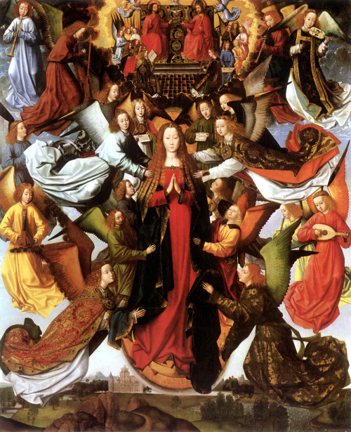Master of the Saint Lucy Legend - Mary, Queen of Heaven; National Gallery of Art, Washington D.C., c. 1500 The last page of our 4th Grade religion textbook featured this painting. I was always very fond of looking at it; indeed, most of the time, I was just staring at it rather than listening to my teacher's lecture. I did not know what it was called at the time, and am glad to be reacquainted with it.