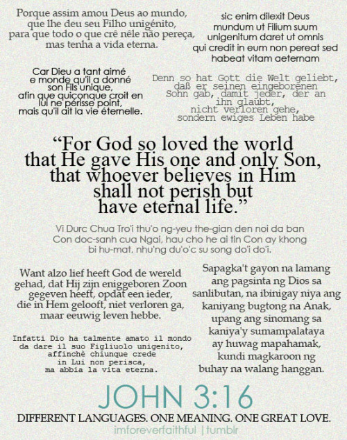 imforeverfaithful:   THANK YOU, GOD, FOR THE GIFT OF SALVATION!  This is one of my favorite Bible Verses. You can re-blog with John 3:16 in your language.