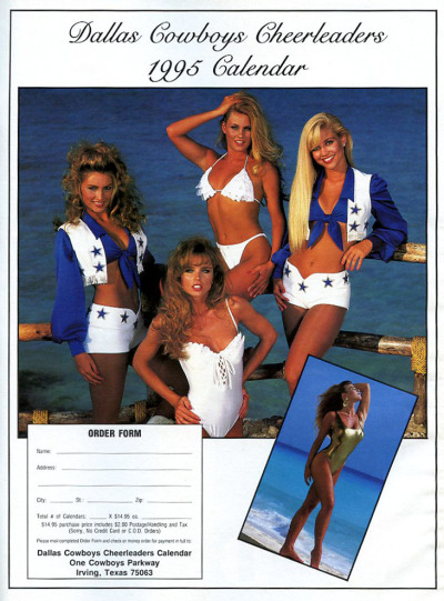 Football Sunday 1995 Dallas Cowboys Cheerleader Calendar Order Form