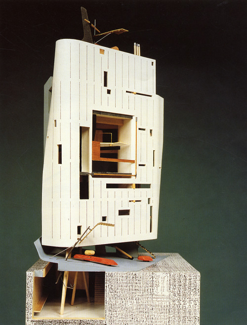 Cosmos Commercial Building. Bolles & Wilson, Tokyo. 1989. Earthquake-resistant ninja columns and a facade generated from a newspaper cutting featuring the building's owner.