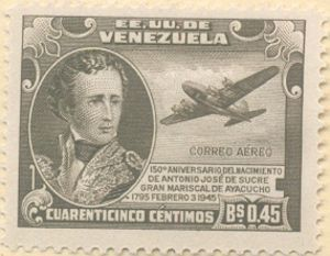 fylatinamericanhistory:  This postage stamp was issued in 1945 for the 150th anniversary of the birth of South American revolutionary Antonio José de Sucre, who was born on this date (February 3) in 1795. Venezuela was known as the United States of Venezuela (Estados Unidos de Venezuela) from 1864 to 1953.