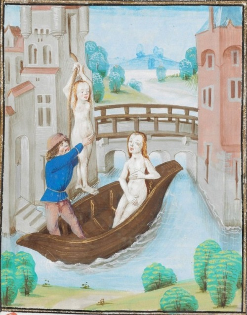 later 15th century  (1479) Southern Netherlands - Bruges British Library Royal MS 17 F II: La Grande histoire César (Les faits des Romains, with additional texts) fol. 308v - escape of Arsinoe http://www.bl.uk/manuscripts/FullDisplay.aspx?ref=Royal_MS_17_F_II