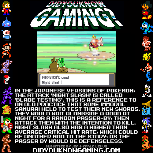 didyouknowgaming:  Pokemon. http://bulbapedia.bulbagarden.net/wiki/Night_Slash_(move)