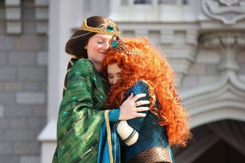 didyouknowwaltdisney:  Merida officially became the 11th Disney Princess this past weekend at the Magic Kingdom and there to greet her was none other than her mother Queen Elinor.