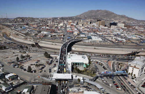 Aerial of the Santa Fe Bridge Linking Ciudad Juarez, Mexico, in the Foreground with the U.S. city of El Paso, TX, 2010 (via atlantic)